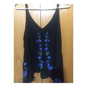 Blue and black floral flowy blouse